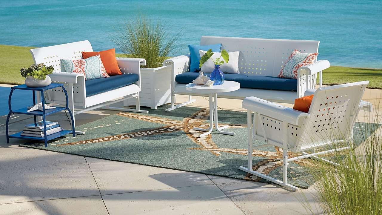 Retro Metal Patio Furniture Squares Glider Sofa Homes