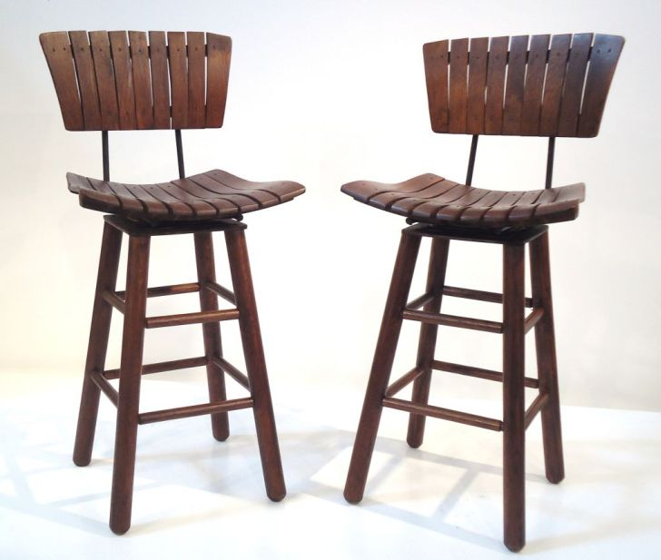 Swivel Bar Stools with Backs Rustic