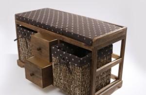 Wicker Bathroom Furniture Bench with Storage