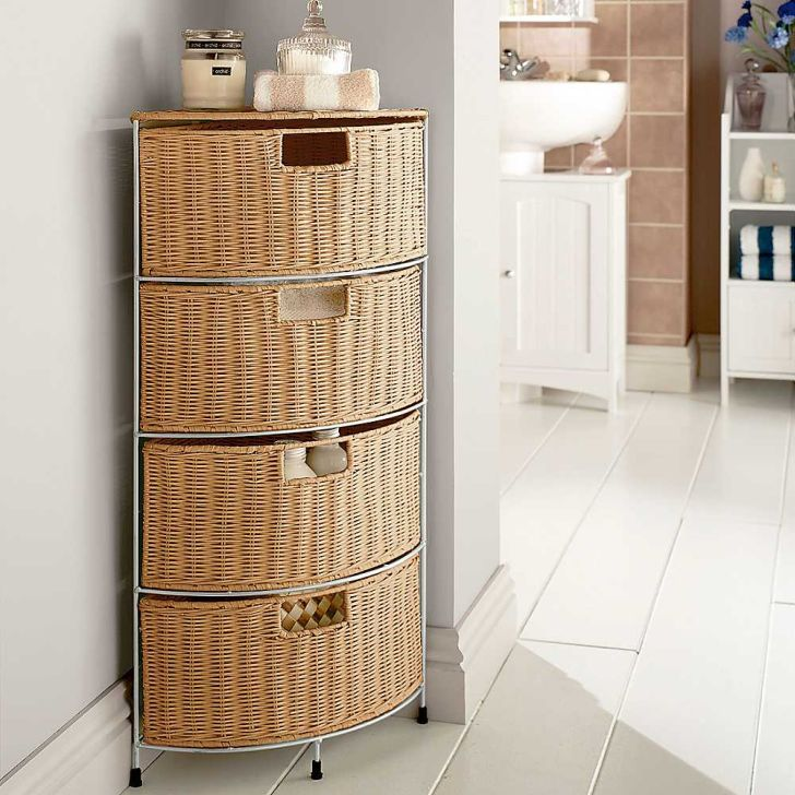 Wicker Bathroom Furniture Drawer Corner Storage