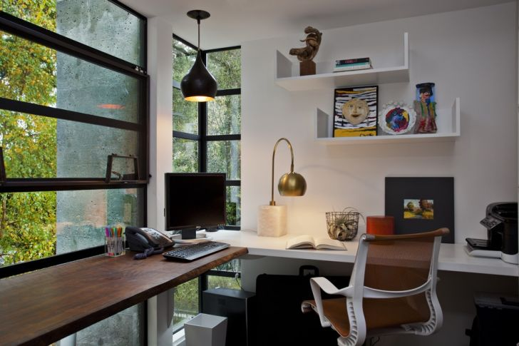 Home Office Lighting With Gooseneck Lamp And Modern Black Pendant Lighting