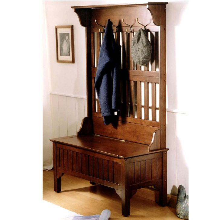 Entryway Bench with Coat Rack
