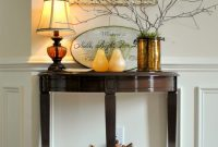Pretty Foyer Table with Nice Shade Lamp and Chic Mirror-