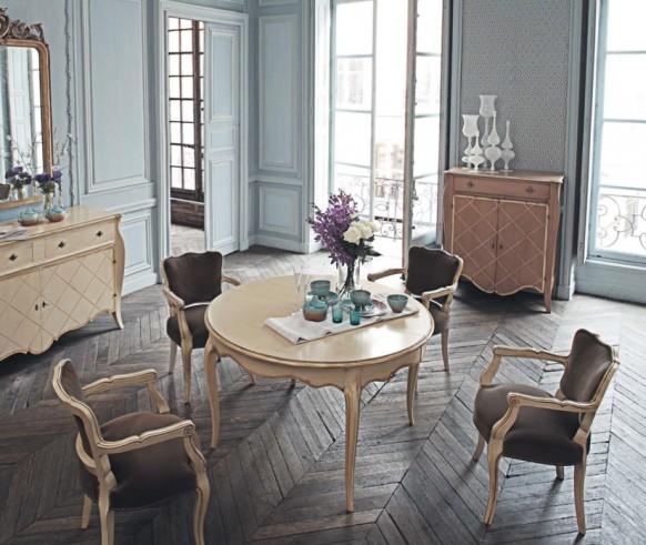 Baby Blue Dining Room Herringbone Hardwood Floors
