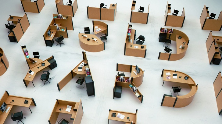 Fold Yard Typographic Office Desks  by Benoit Challand