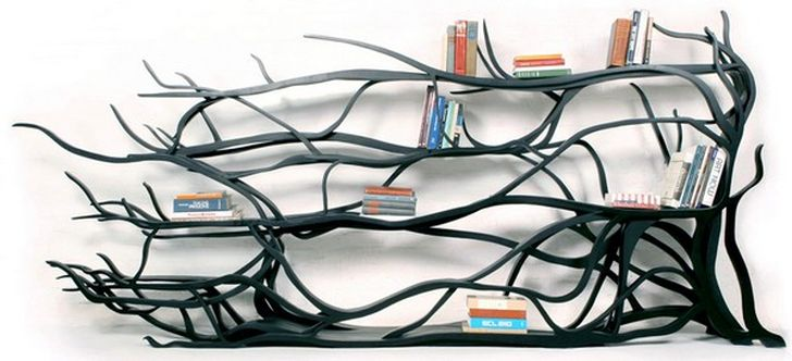 Hand Carved Shelving Unit Tree Branch