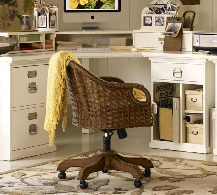 Wingate Rattan Swivel Desk Chair For Office Room Homes