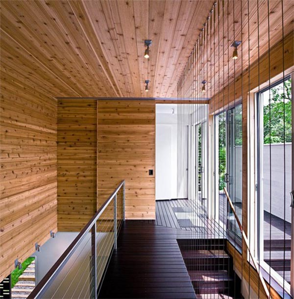30 Wood Walls Inspirations 2nd Floor Area-Wooden Wall-Dark Staircase-Ceiling Light-Wooden Windows