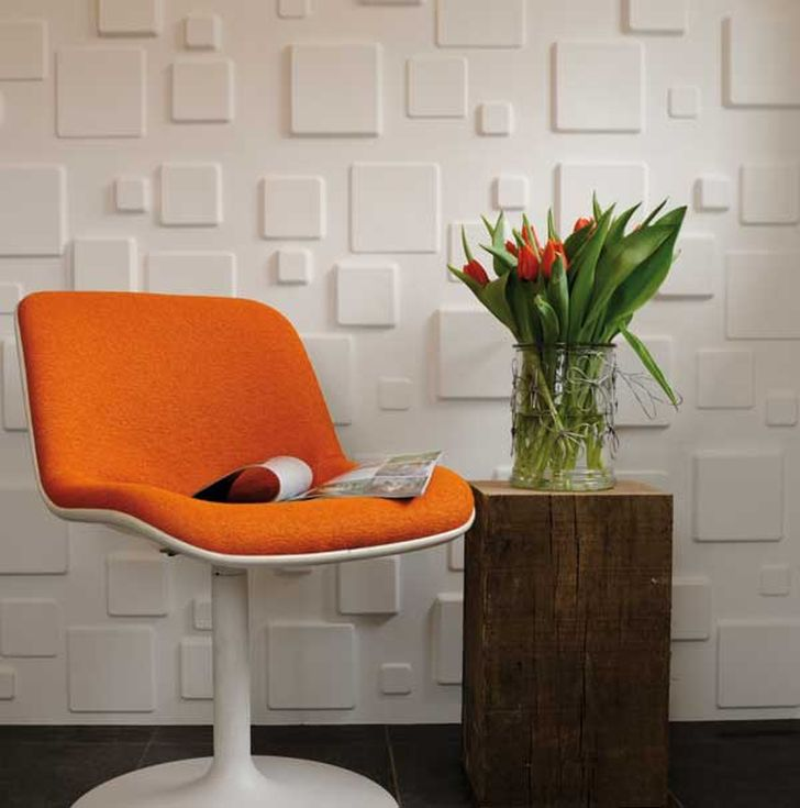 3d Decorative Wall Panels 3d Squares Wall Panels with Swivel Cahir and Flower Vase