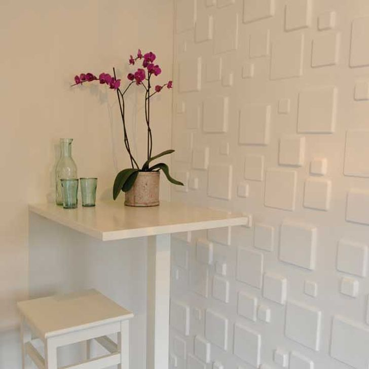 3d Decorative Wall Panels 3d Squares Wall Panels with White table and Flowers
