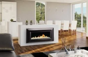 Escea Gas Fireplace Black Framed Fireplace in White Kitchen and Dining Room