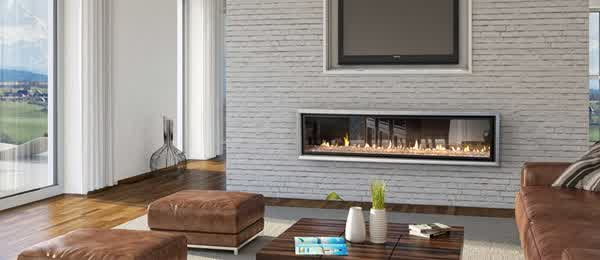 Escea Gas Fireplace Brown Couch with Long Fireplace Remoted by Smart Phone