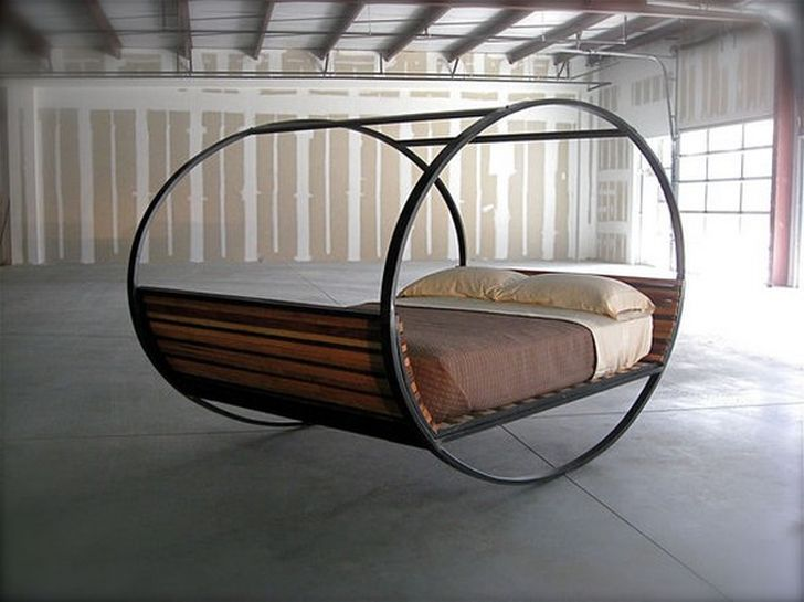Mood Rocking Bed Comfortable Rocking Bed with Wood Base Finish and Black Carbon Steel Frame