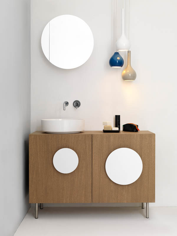 Bold1 Modern Cabinet Modern Bathroom Cabinet with White Round Sink and Circular Mirror-White Round Handles-Decorative Pendant Lamp
