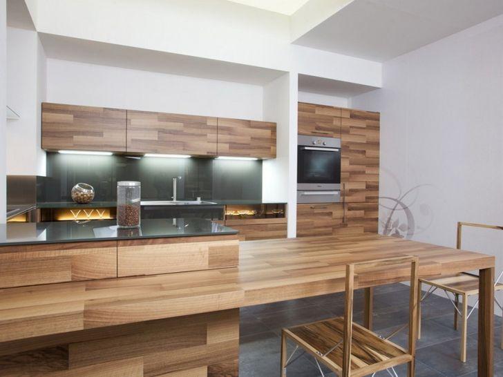 Modern Cooking Area Design Made from Oak Veneer by Mateja Cukala