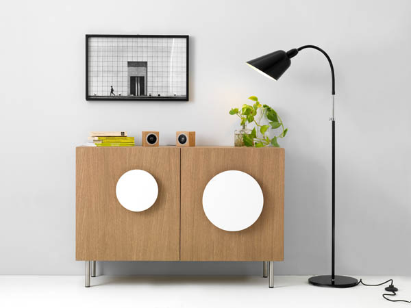 Bold1 Modern Cabinet Modern Wooden Cabinet with White Round Handles and Black Floor Lamp