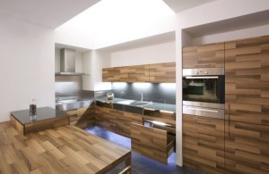 Kitchen Partes by Mateja Cukala Oak Veneer Kitchen Set with Daring Glass Addition and Stainless Sink