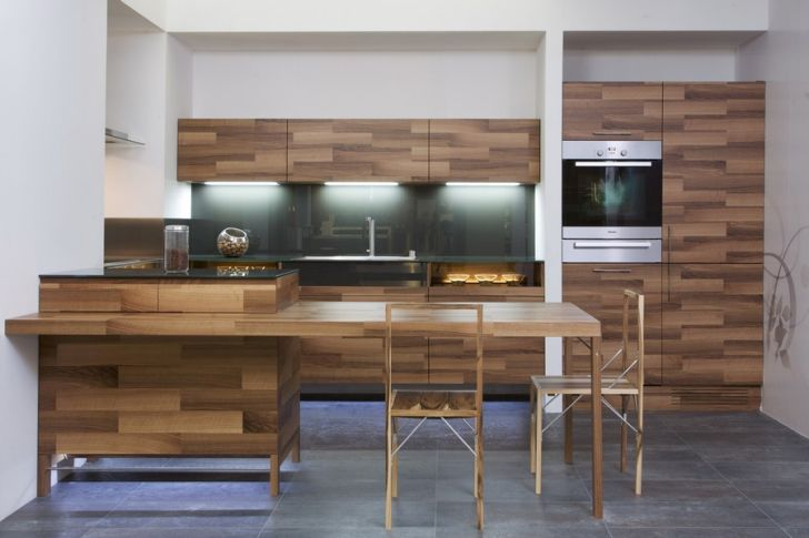 Kitchen Partes by Mateja Cukala Oak Veneer Kitchen Set with Wooden Chair and Freezer