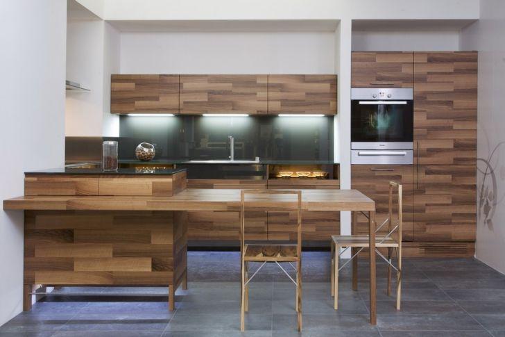 Oak Veneer Kitchen Set with Wooden Chair and Freezer