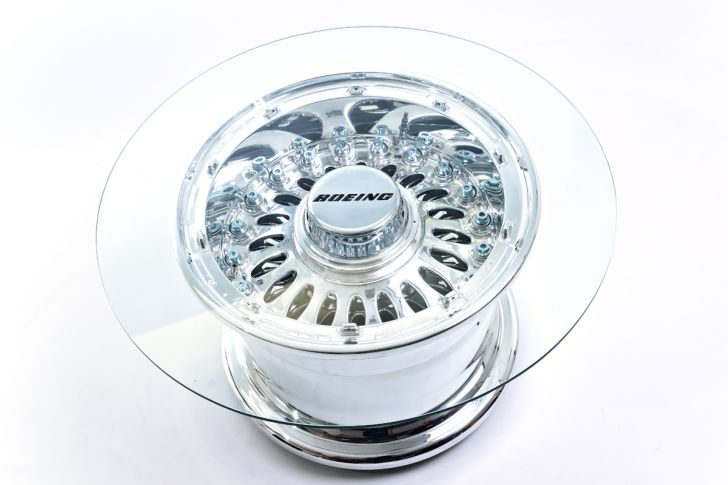Boeing 777 Wheel Coffee Round Glasstop Coffee Table Made from Boeing 777 Wheel Table