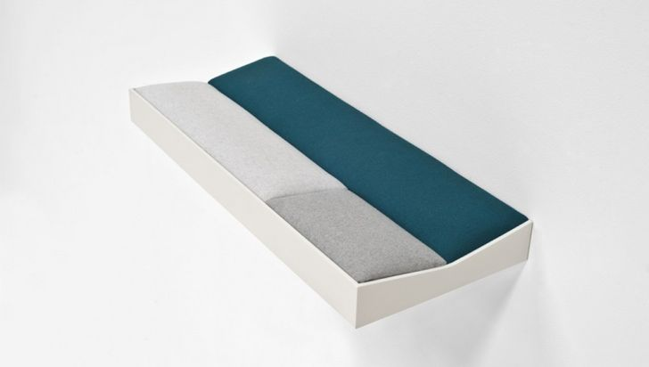 SNUG Shelf with Soft Cushions Short Snug Padded Shelf with White Wooden Frame and Green Cushions