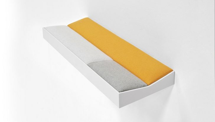 SNUG Shelf with Soft Cushions Short Snug Padded Shelf with White Wooden Frame and Yellow Cushions