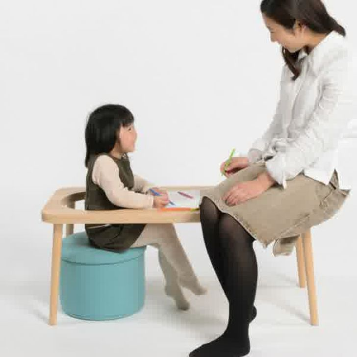 Step Bench Square Wooden Bench with Stool by Kohdai Iwamoto
