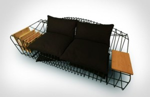Sofist – the Sofa with Industrial Style Unusual Sofa by Sule Koc with Pillow for Comfort and Cage-Like Design