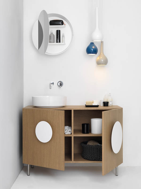 Bold1 Modern Cabinet White Round Sink Bathroom Cabinet with White Round Handles-Circular Mirror and Decorative Pendant Lamp