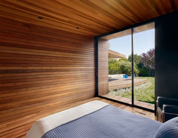 30 Wood Walls Inspirations Wooden Wall in the Bedroom with Dark Framed Glass Door