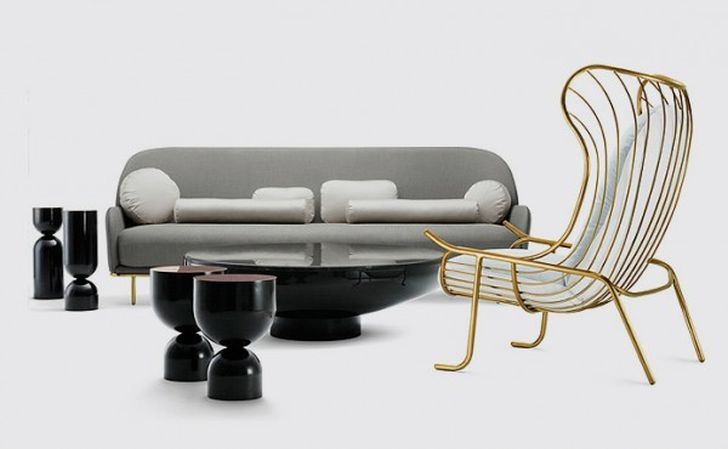 gold arpa upholstered metal frame