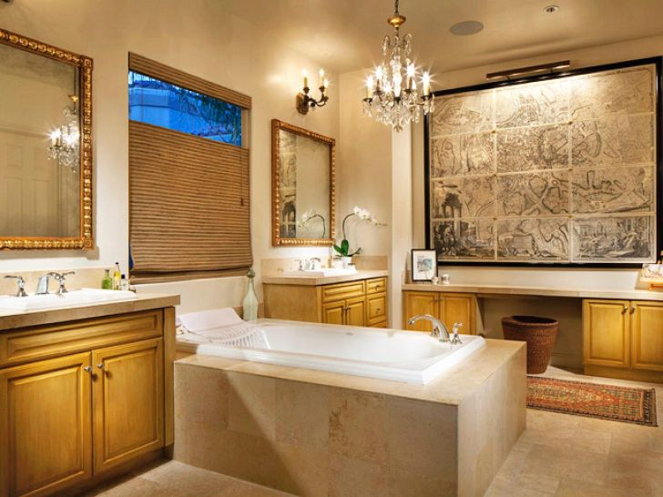 Bathroom Chandelier Lighting Bathroom Lighting Chandelier Over Bathub with Wooden Bathroom Cabinet and Decorative Painting