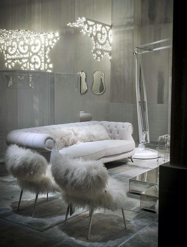 White Living Room Furniture Large Deco Inspired Leather Sofa Spiral Armrests
