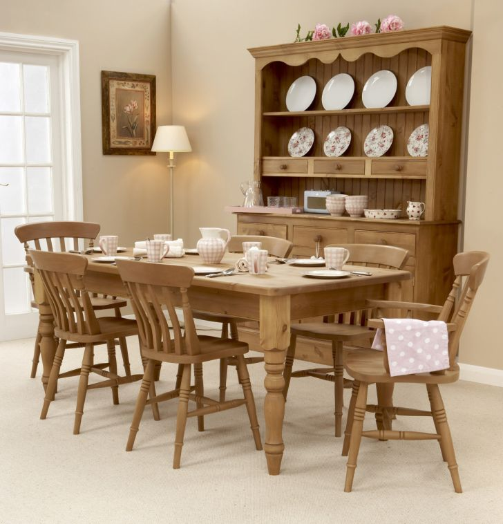 Pine Wood Furniture Luxurious Pinewood Dining Tables - Dining Chairs and Pinewood Display Cabinet plus Floor Lamp