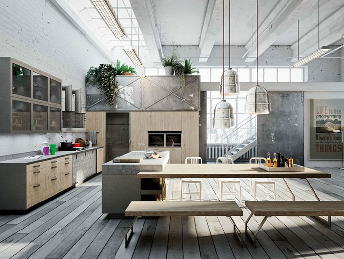 Modern Loft  Kitchen Design by Michele Marcon Modern Loft with Nordic Style Kitchen