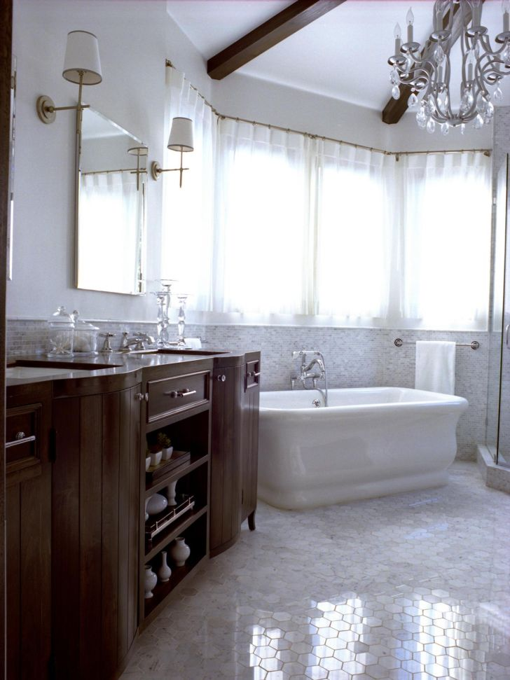 Bathroom Chandelier Lighting Small Bathroom Chandelier Lighting with White Bathub and Laminated Wooden Vanity