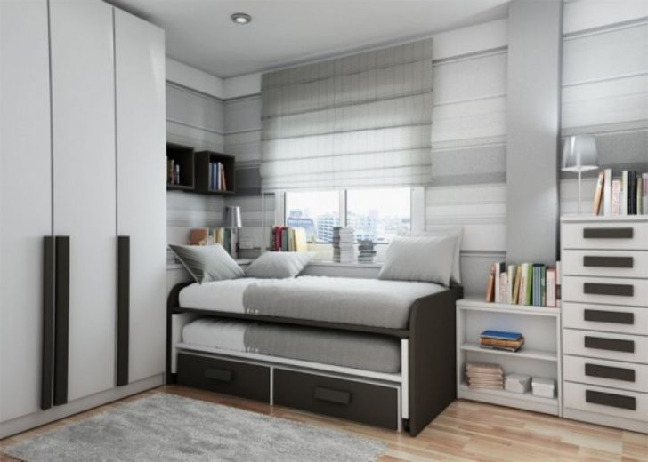 Decorate Small Bedroom Space Saving Beds for Small Rooms with White Wooden Furnishing and Comfort Rug plus White Square Window