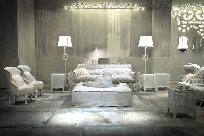 White Living Room Furniture White Ottoman Leather Sofa with Unique White Floor Lamp and Decorative White Mirror