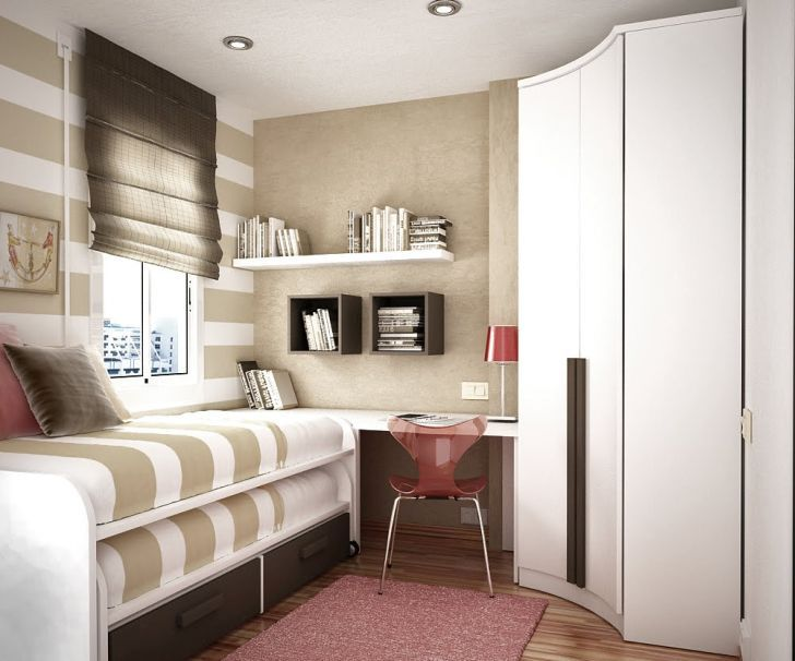 Decorate Small Bedroom White and Beige Stripes Style Bedroom Arrangement with Work Desk-Wooden Bookshelf-White Wooden Cupboard-Dark Curtain-Red Table Lamp-White Windows