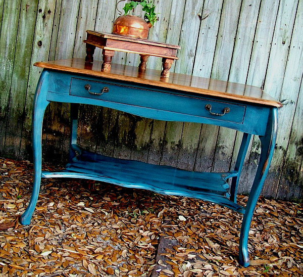 antique distressed furniture antique-distressed-blue-table-with-storage