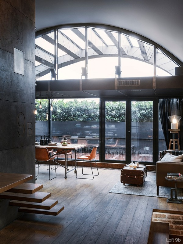 attic-apartment-with-custom-furniture-apartment-patio-design-glass-wall-suitcase-table-wooden-floor-dining-table-floor-lamp