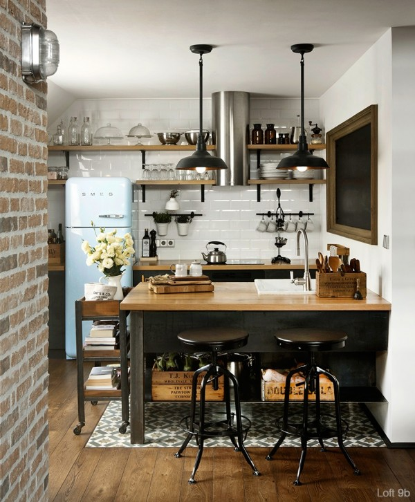 attic-apartment-with-custom-furniture-beautiful-wood-theme-kitchen-design-with-two-hanging-lamps