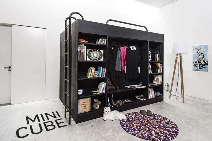 multifunctional furniture for small spaces-black-mini-cube-with-minimalist-design-by-Till-Konneker-with-storage-room
