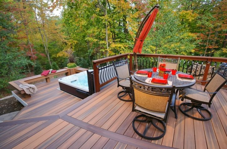 smart patio ideas comfortable-patio-furniture-arrangement-with-laminated-wooden-floor-and-iron-seating-sets