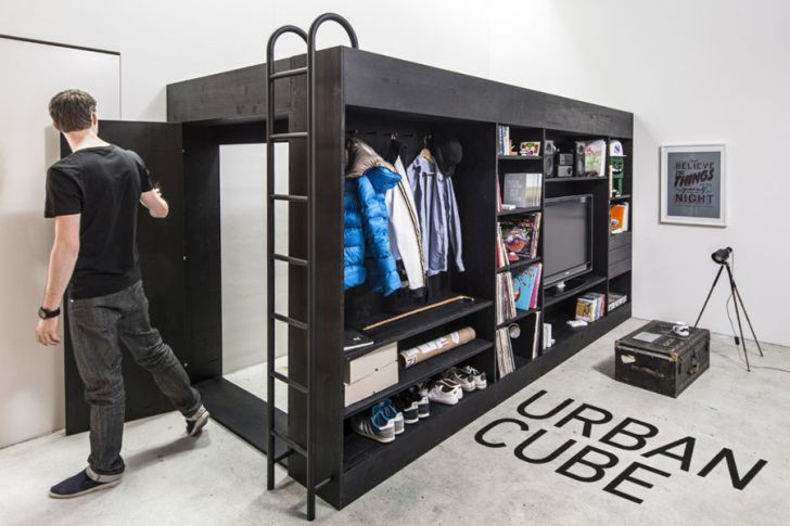 multifunctional furniture for small spaces-creative-arrangements-of-living-urban-cube-by-till-konneker-with-black-steel-stair-multifunctional-furiture