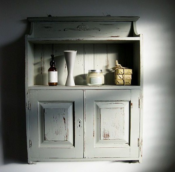 antique distressed furniture distressed-white-bathroom-cabinet-after-painting