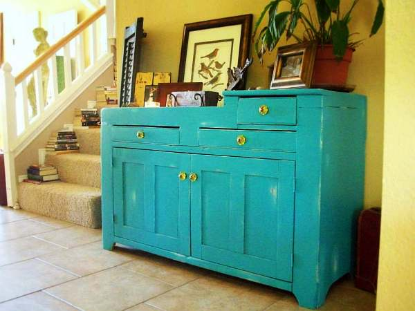 antique distressed furniture diy-distressed-blue-storage-buffet-design