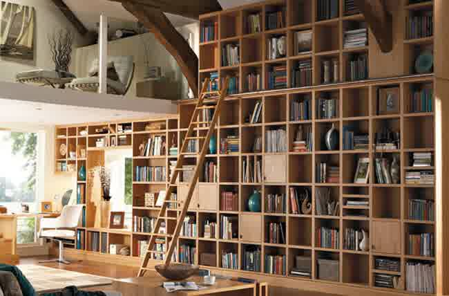 modern home office furniture-handcrafted-fitted-home-office-furniture-library-ladder