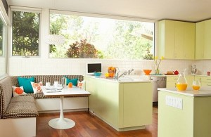 Breakfast Nook furniture l-shaped-bench-colorful-pillows-breakfast-nook-with-bright-green-kitchen-decor-and-wooden-floor