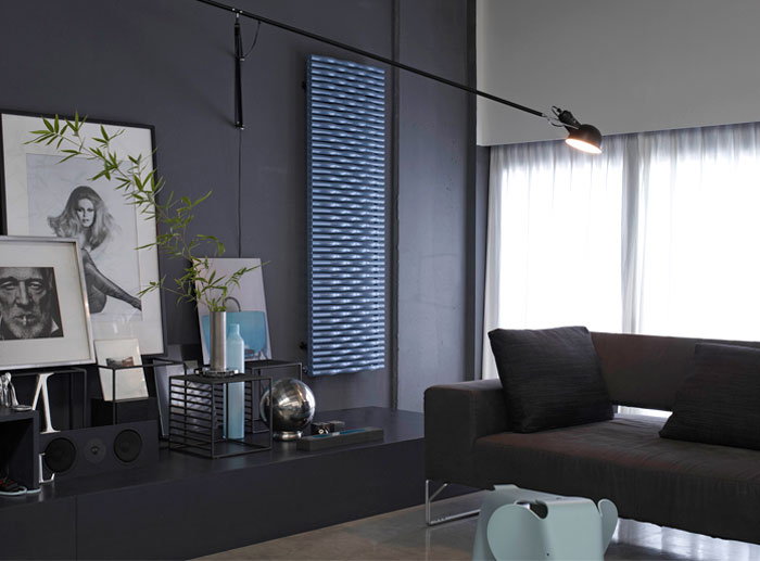 modern-radiator-covers-living-room-blue-color-texture-space-heater-decorative-painting-stainless-vase-dark-sofa